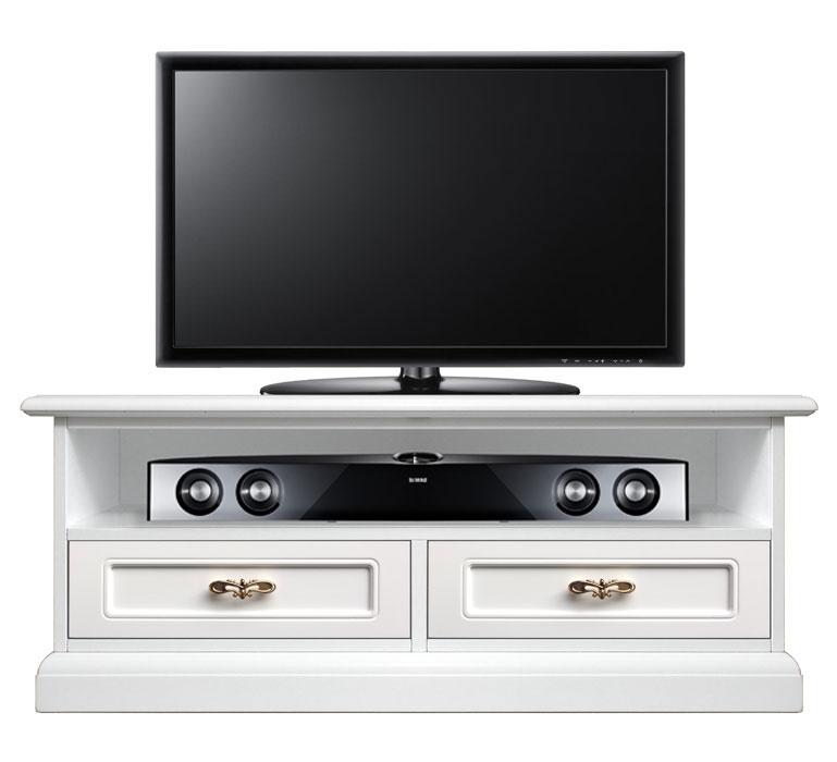 Mueble tv barra de sonido bajo 2 cajones y vano central for Muebles bajos para tv