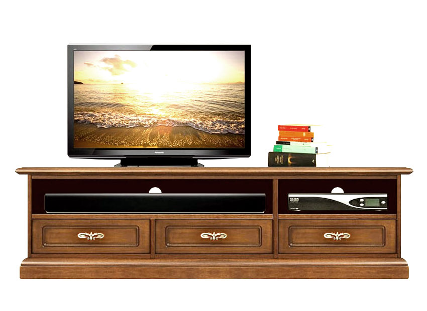 Mueble tv acabo blanco vano barra de sonido en madera for Comodas diseno italiano
