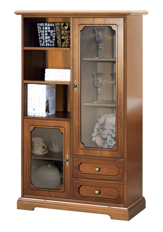 Mueble vitrina de sal n mueble de comedor en madera con for Mueble vitrina