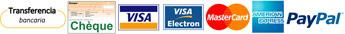 Transferencia bancaria, Chèque, Tarjeta de crédito, Paypal