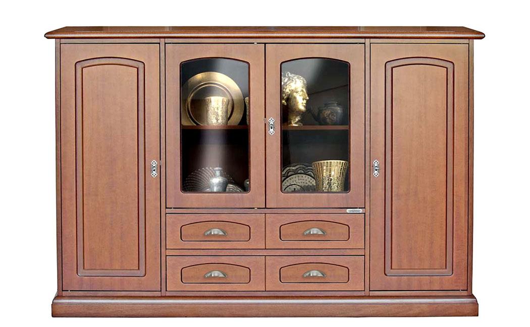 Detalles de Aparador de comedor con vitrinas y cajones, mueble de madera  por salón, clásico