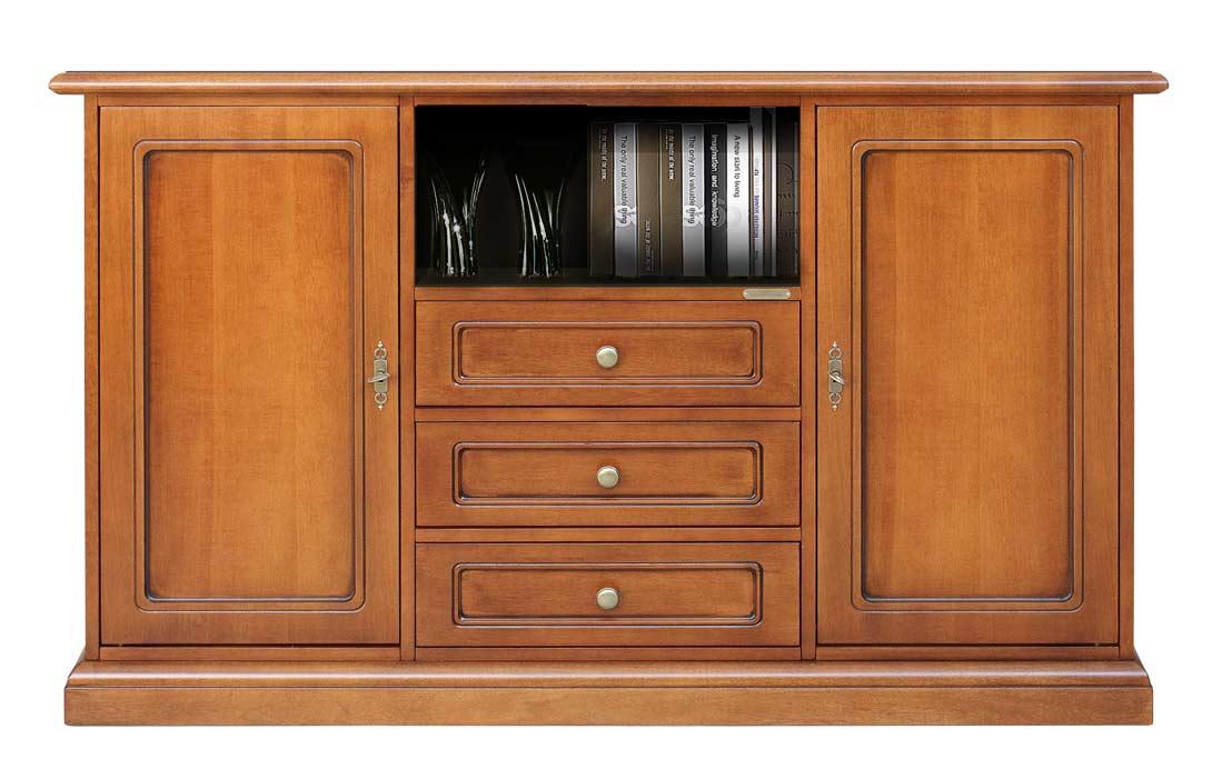 mueble aparador de tv alto en madera 3 cajones prixdoo