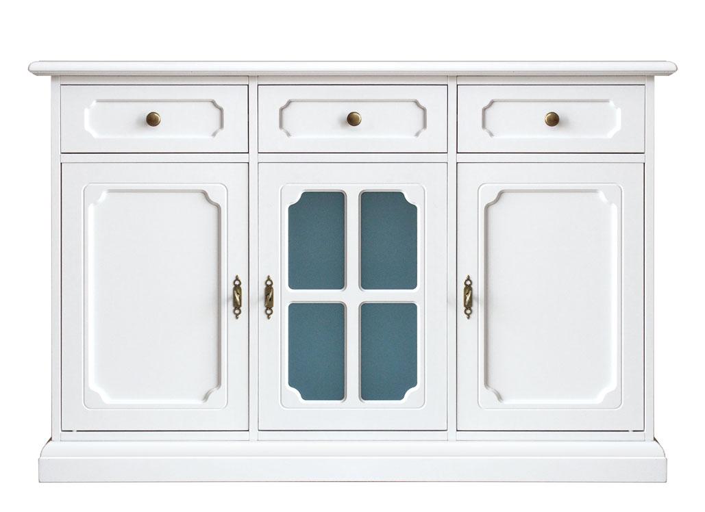 Aparador Mesa Retratil ~ Aparador blanco puerta en vidrio azul para cocina salón Prixdoo