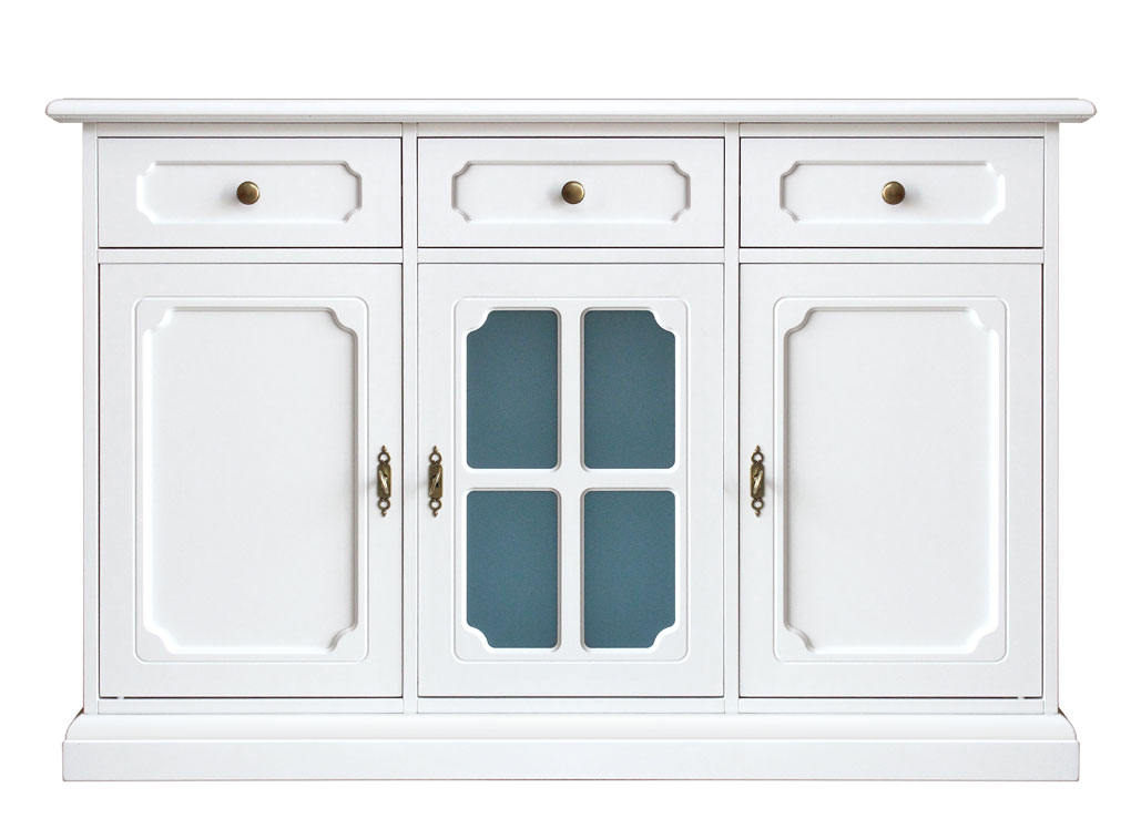Adesivo De Jesus Cristo ~ Aparador blanco puerta en vidrio azul para cocina salón Prixdoo