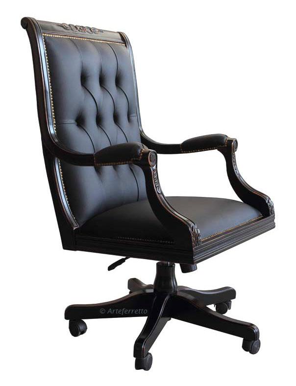 sillón giratorio negro, sillón de oficina, mueble de officina, silla de officina, sillón negro, sillón en madera
