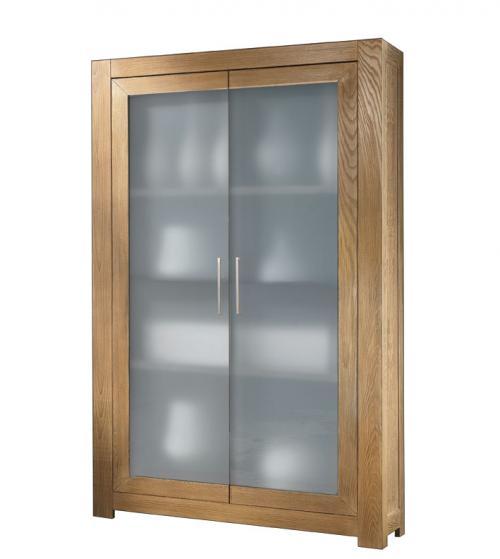 Vitrina de fresno 2 puerta vidrio esmerilado estilo moderno