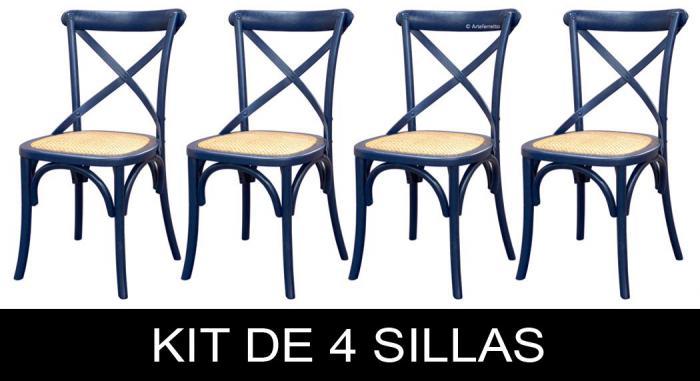 kit de sillas, sillas azules, silla azul, silla de madera, sillas de comedor, mueble de comedor, sillas de cocina, silla de madera