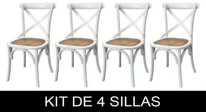 sillas de madera, kit de 4 sillas, silla de comedor, silla de madera, sillas estilo Shabby chic, silla artesanal, silla de cocina, kit de comedor