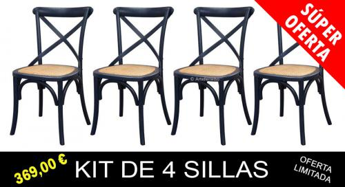 kit de sillas, sillas de comedor, mueble de comedor, silla de cocina, silla negra, sillas de madera