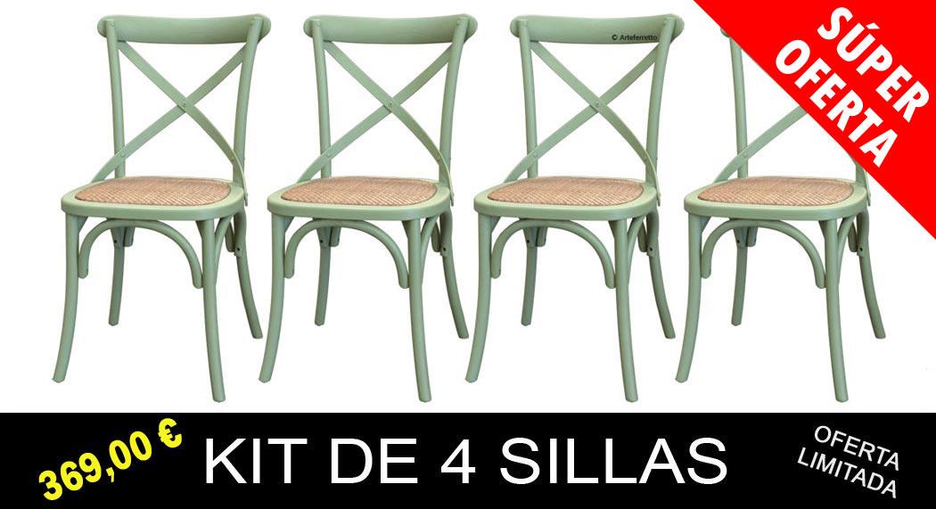 Kit de 4 sillas verdes de comedor - Prixdoo