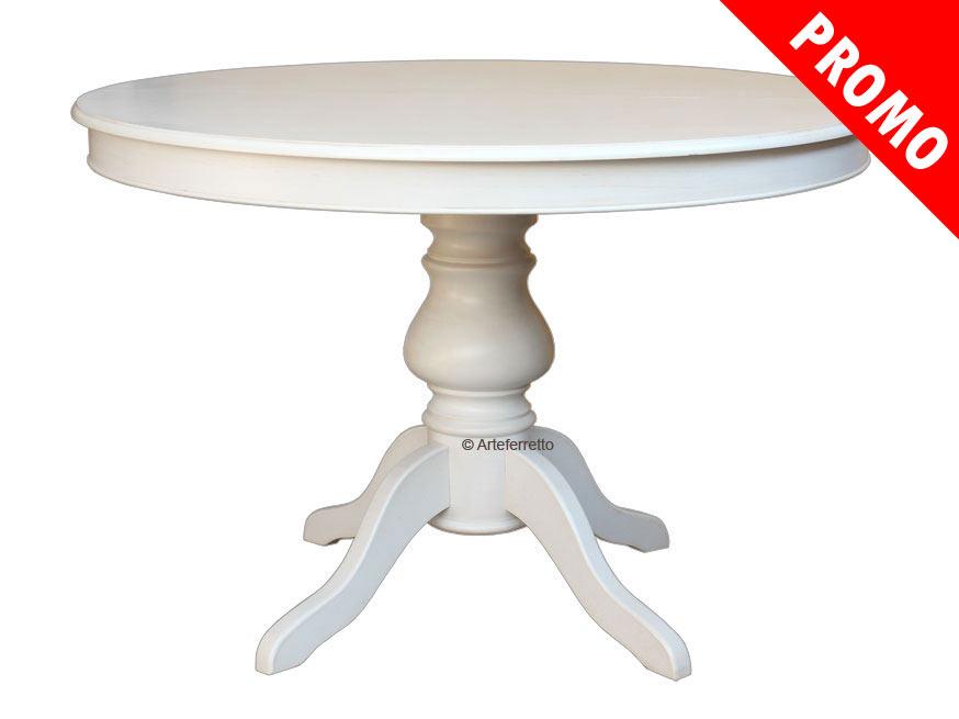 Mesa redonda laqueada blanca extensible estilo luis felipe for Mesa redonda blanca 120 cm