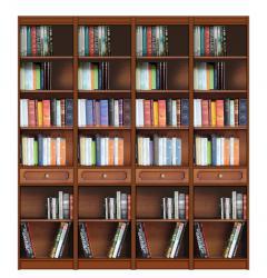 Mueble de pared, estantería, librería de madera, Arteferretto, mueble de salón, mueble de madera, librería estilo clásico