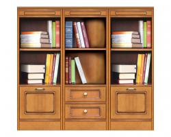 librería baja, mueble modular, mueble de oficina, mueble de madera, librería de madera, estantería con cajones, Arteferretto
