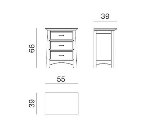 mesilla de madera, mesilla de noche, mesita de noche, Arteferretto muebles, muebles de dormitorio,