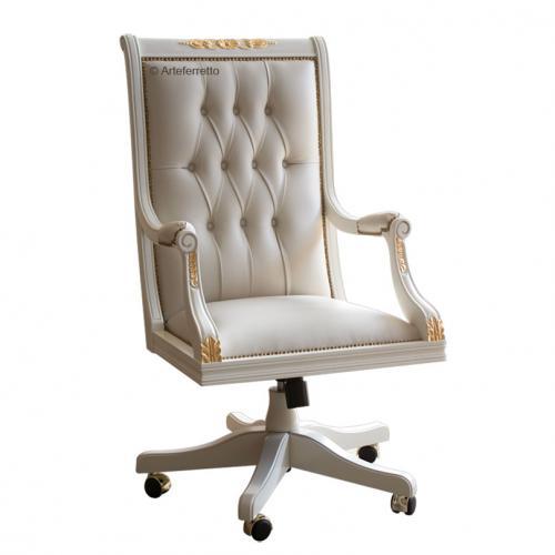 sillón giratorio, sillón de oficina, sillón con pan de oro, sillón de madera de haya, mueble de oficina, sillón clásico, sillón capitoné