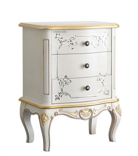 mesita de noche con decoracione en pan de oro, mueble artesanal, mesilla de dormitorio, mesita de noche en estilo clásico, mueble de madera