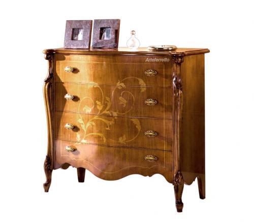 cómoda incrustada de estilo clásico, mueble de estilo clásico, cómodas 4 cajones