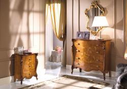 mesilla de noche incrustada, mesita de noche con marqueterías, mueble de dormitorio, mesita de estilo clásico,