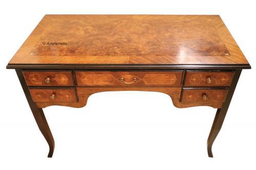 Escritorio clásico con marquetería, mesa de despacho clásico, mueble de oficina, escritorio, escritorio de madera,