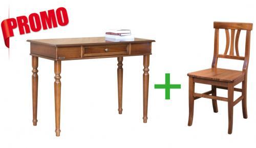 escritorio y silla de madera, muebles de oficina, escritorio con cajón, muebles clásicos