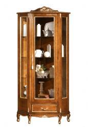 vitrina de madera, vitrina de esquina, vitrina de rincón, mueble de estilo clásico, mueble vitrina de salón