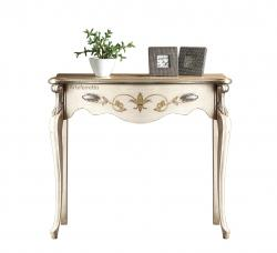 mesa consola lacada decorada con pan de plata, consola marfil, consola de madera, consola artesanal, mesa consola estilo clásico