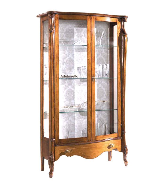 Vitrina alta de comedor clásico estantes de vidrios