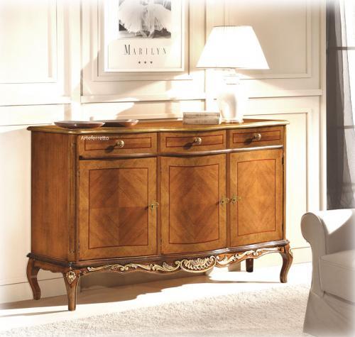 aparador decorado, mueble de comedor, aparador de madera, aparador 3 puertas 3 cajones,