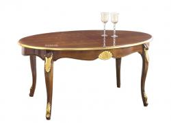 mesa extensible ovalada, mesa de madera, mesa oval, mesa decorada, mesa de comedor