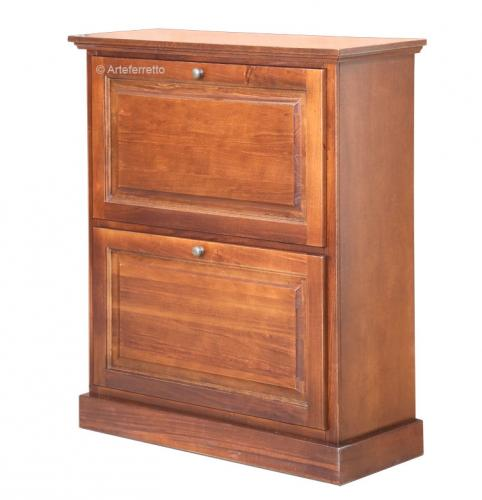zapatero pequeño bajo de madera, zapatero 2 puertas abatibles, mueble zapatero, mueble de zapatos