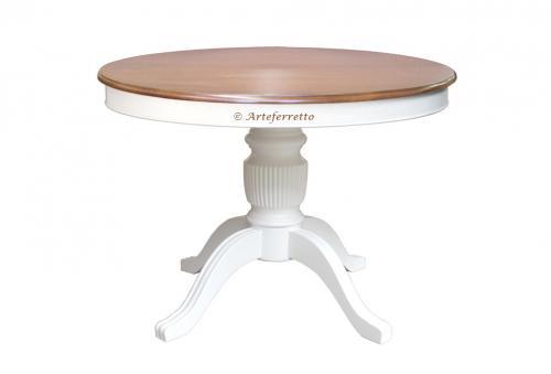 mesa redonda bicolor, mesa de comedor, mesa extensible, mesa 110 cm, mesa redonda de comedor, mesa de madera, mesa blanca, mesa de cerezo, mesa artesanal
