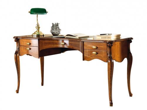 escritorio 5 cajones, colección Sensazioni, mesa de despacho, escritorio con marqueterías, mesa de despacho en estilo clásico, mueble de diseño italiano, escritorio artesanal