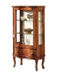 Vitrina baja estilo clásico, mueble vitrina de salón, mueble de estilo clásico, vitrina de salón, vitrina de madera, vitrina con decoraciones