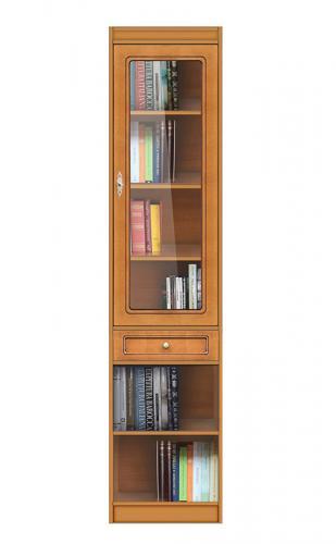 elegante librería modular, librería con puerta de vidrio, mueble de madera, librería de madera, mueble modular, estantería, vitrina de Arteferretto, muebles de Arteferretto