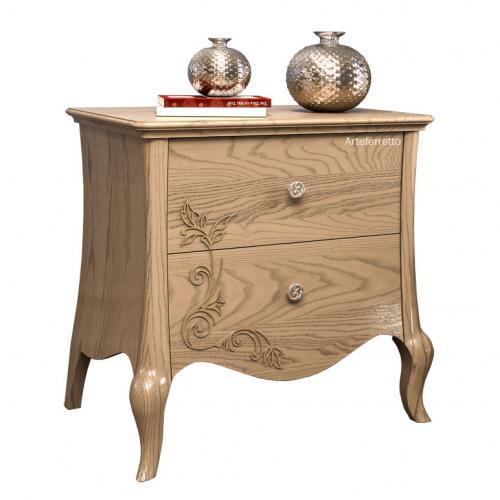 mesita de noche de madera, 2 cajones, mesita de madera, cajonera, mesita de noche de estilo, mesita de noche artesanal