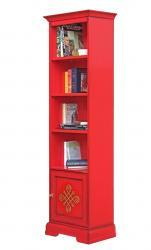 librería alta roja, librería de madera, librería de salón, librería roja, librería de Arteferretto, Arteferretto muebles,