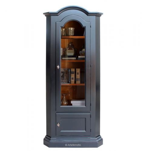 mueble vitrina de esquina, mueble de salón, vitrina de esquina, mueble negro, vitrina negra, vitrina de comedor, mueble de comedor, vitrina de madera maciza, mueble de madera, mueble negro