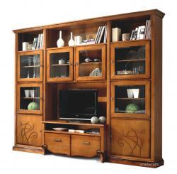 muebles pared de salón, mueble de madera, mueble de pared, mueble de tv, mueble clásico