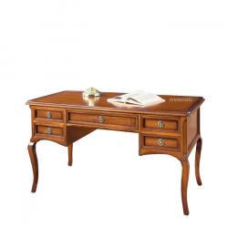 escritorio de madera, escritorio de oficina, mesa de despacho con 5 cajones, mesa de despacho clásica, mesa de oficina clásica