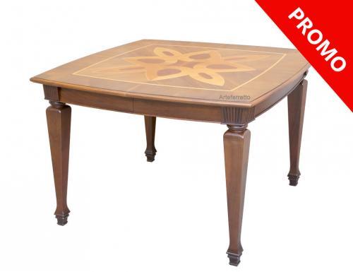 mesa cuadrada, mesa de comedor, mesa con marqueterías, mesa cuadrada de estilo clásico, mesa de comedor en madera