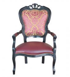 sillón clásico, sillón de salón, sillón con reposabrazos, sillón negro, sillón tapizado