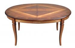 mesa extensible oval, mesa de comedor, mesa de madera, mesa extensible, mesa ovalada, mesa con marqueterías, mesa de comedor